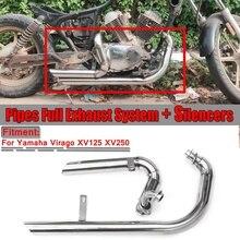 Выхлопная труба мотоцикла полный глушитель Выхлопная система труба+ глушители нержавеющая для Yamaha Virago V Star XV125 XV 125 XV250 XV 250