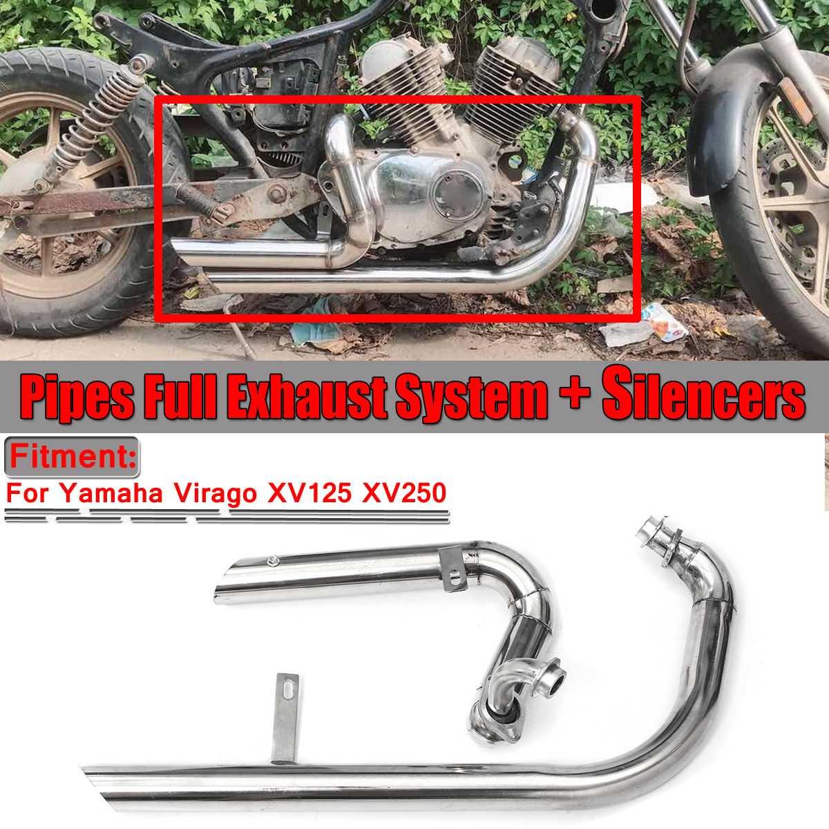 Tuyau d'échappement de moto plein silencieux système d'échappement tuyau + silencieux en acier inoxydable pour Yamaha Virago V Star XV125 XV 125 XV250 XV 250