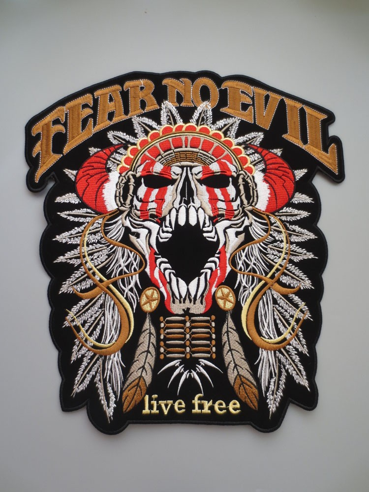 Motorcycle riders Shaman skeleton Exquisite Embroidry Patches for Jacket Back Vest Motorcycle Biker 27.7*29.5cm