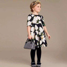 цены на Girls Dress Long Sleeve 2018 Autumn Brand Princess Dress Floral Print Kids Dresses for Girls Clothes Christmas Children Dress  в интернет-магазинах
