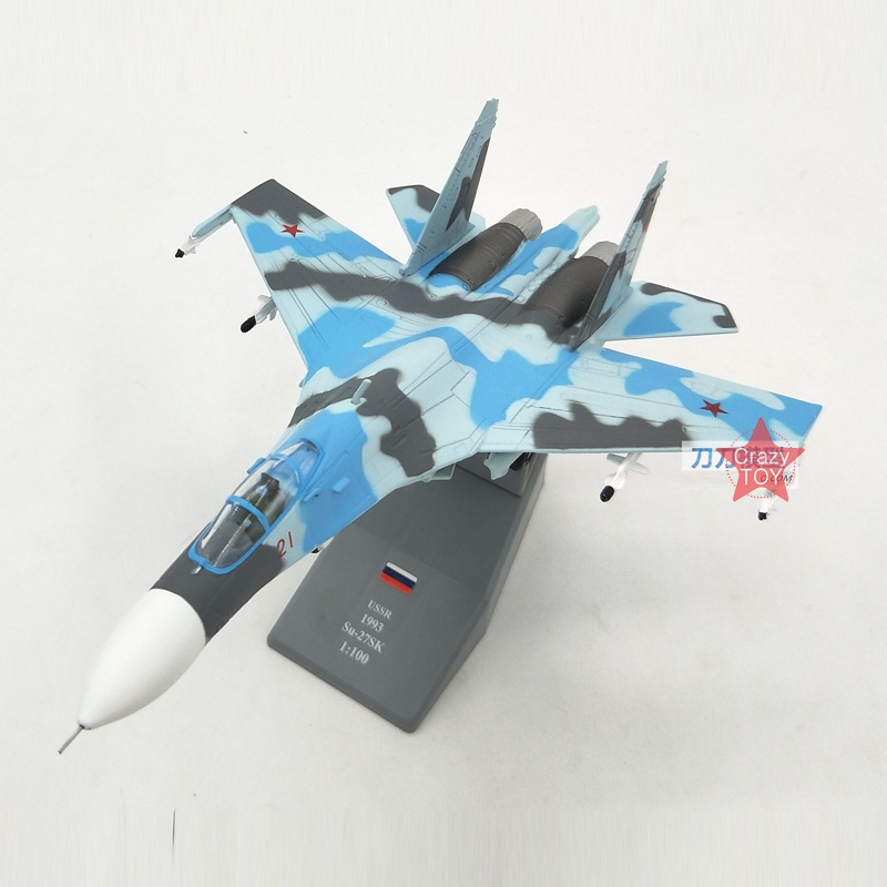 Amer Russian SU-27SK Sukhoi Su-27 Fighters 1/100 Finished Alloy Model Toy For Collect Gift