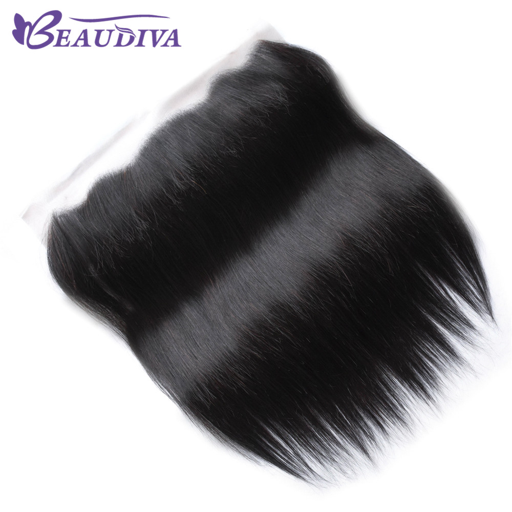 BEAUDIVA Deep Parting Peruvian Straight Human Hair Lace Frontal Closure 13x6 With Baby Hair Free Part Swiss Lace Natural Color