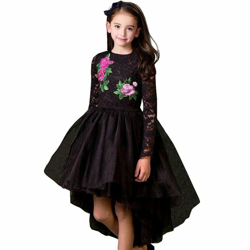 Girls Dress Flower Embroidery Long Sleeve Pirncess Girls Dress 2018 Christmas Black Lace Wedding Dress for Kids Clothes Vestidos black long sleeve lace dress