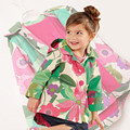 Rosa das meninas Casaco Bonito Da Cópia Da Flor Jaqueta Jeans Crianças Moda Primavera Do Vintage de Veludo Crianças Casaco de Inverno Jaqueta Jeans Para Meninas