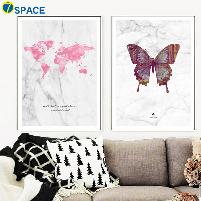 Marble Butterfly World Map Canvas Painting Nordic Posters And Prints