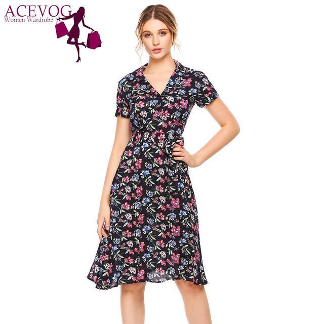 3c498ddff458 ACEVOG Beach Summer Dress Short Vintage Style Couture Retro Fun Women Sleeve  Floral Print V Neck Belted Elegant Female Dress