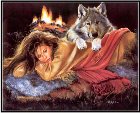 Woman and Wolf Forest Animal 14CT Unprinted Crafts For Embroidered Handmade DMC Quality Counted Cross Stitch