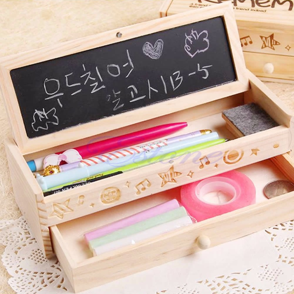 Hot Multifunctional School & Office Pencil Holder Pen Case Vintage Wooden Box Stationery Container Gift for Kids cute cat pen holders multifunctional storage wooden cosmetic storage box memo box penholder gift office organizer school supplie