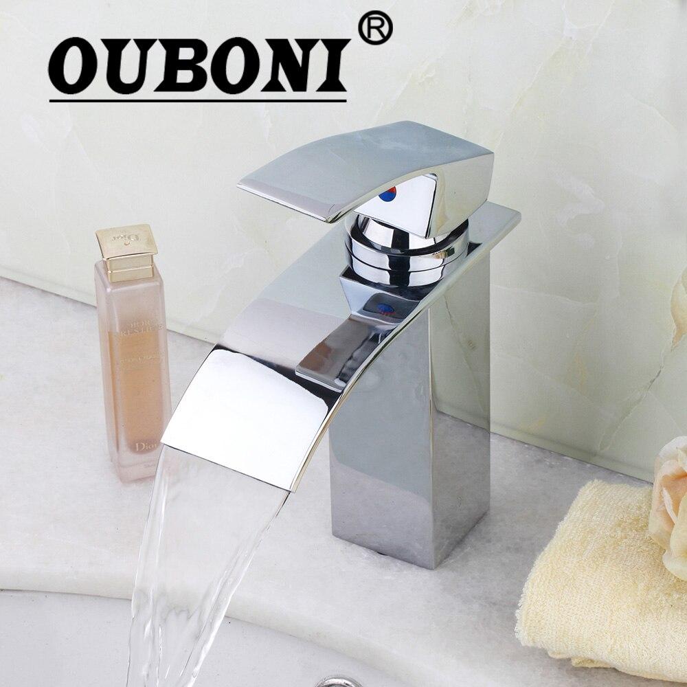 OUBONI Bathroom Faucet Ceramic Waterfall Chrome Brass Basin Sink Faucet Lavatory Combine Set Faucet,Mixer Tap ouboni hot sale bathroom basin faucet chrome brass mixer tap jn6116h led waterfall spout torneiras para banheiro
