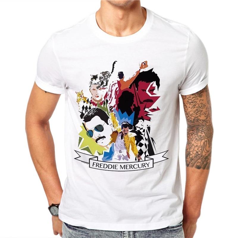 Men's Freddie Mercury The Queen Band T-Shirt Mens Hip Hop Rock Hipster T Shirt Casual T-shirts Harajuku Top Tees
