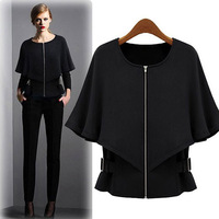 Black Friday Autumn New Fashion Long Butterfly Sleeves Slim Coat With Zipper For Women S Wear