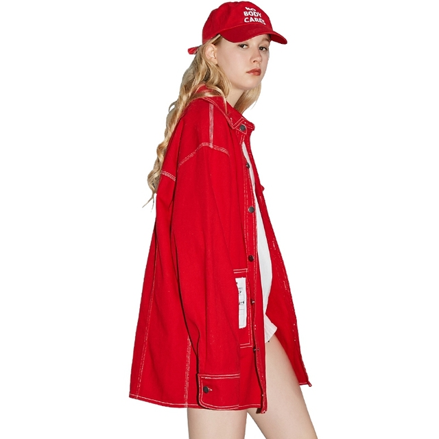 UNIFREE 2019 Autumn new arrival red top jacket women loose Korean style tide hip-hop street sexy jacket for girl UHC183B001 1