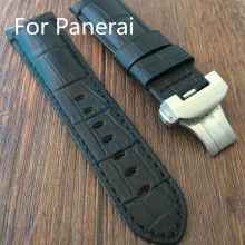 Handmade 24mm 26mm Black Brown Leather Strap,Watchbands Mens Rough Strap For PAM ,With original LOGO, Free Shiping