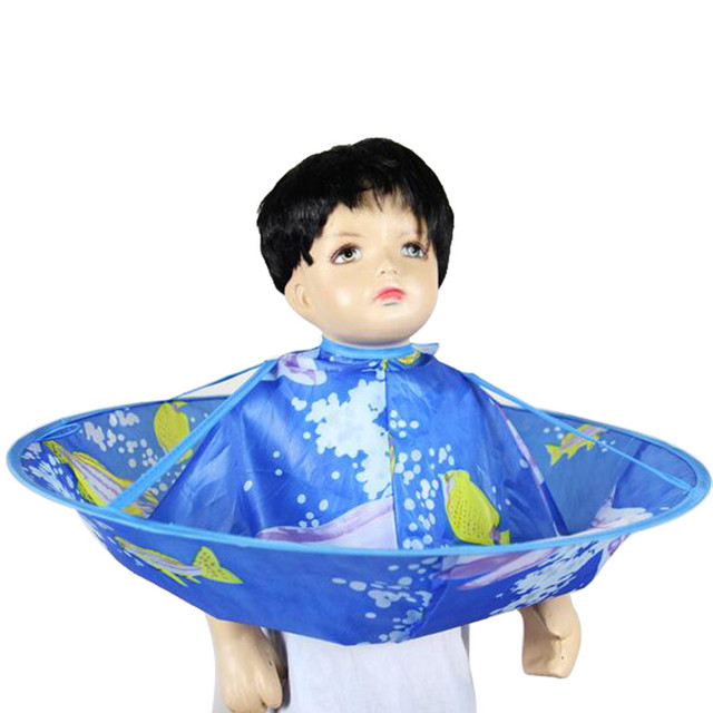 Kids Cute Hair Care Shampoo Capes Unique Design Hair Cut Clothes Waterproof Haircut Blue Cloak