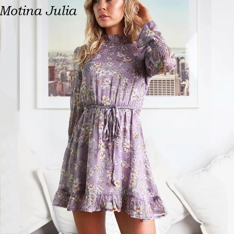 0837e7d3dacae Motina Julia Ruffle floral print short chiffon dress women Autumn winter  party casual smock dress vestidos female