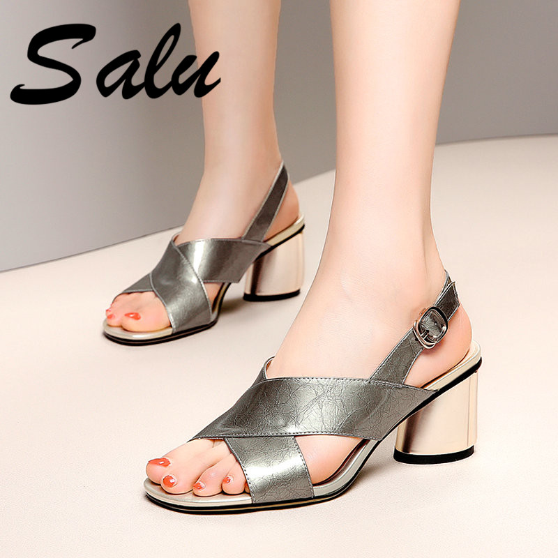 Salu High Heels Sandals Women Thick Heels Real Leather Summer Shoes with Buckle Strap Gray Fashion