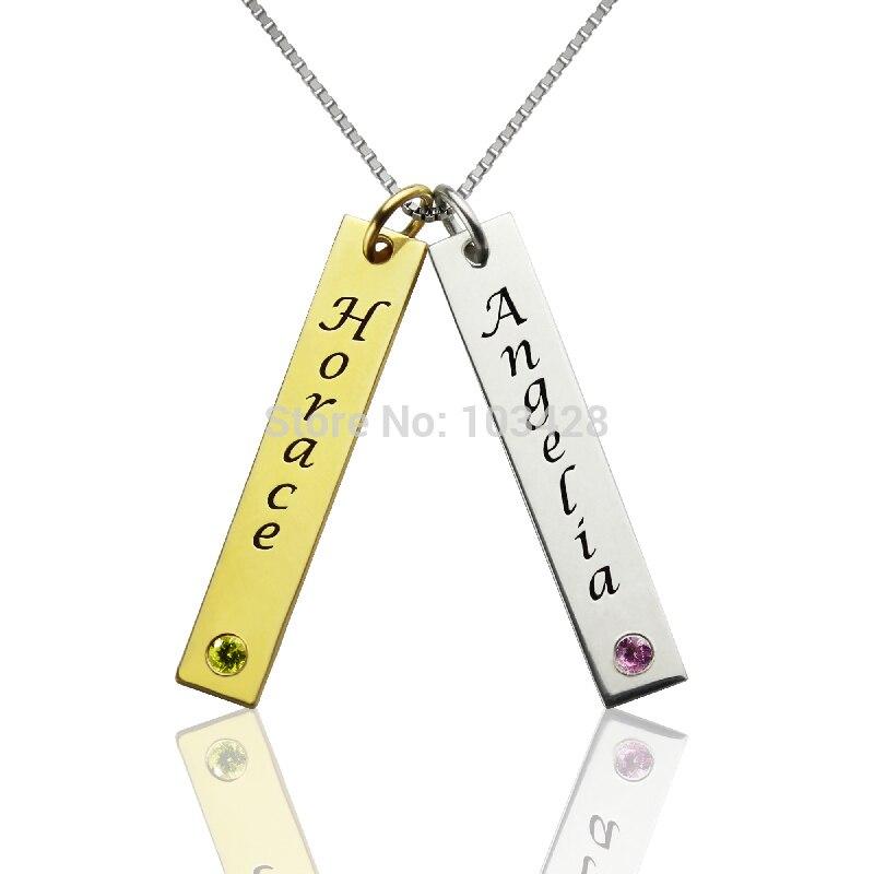 AILIN personnalisé Couple nom collier en argent Sterling deux nom pendentif couleur or amour collier personnalisé Bar collier avec pierre