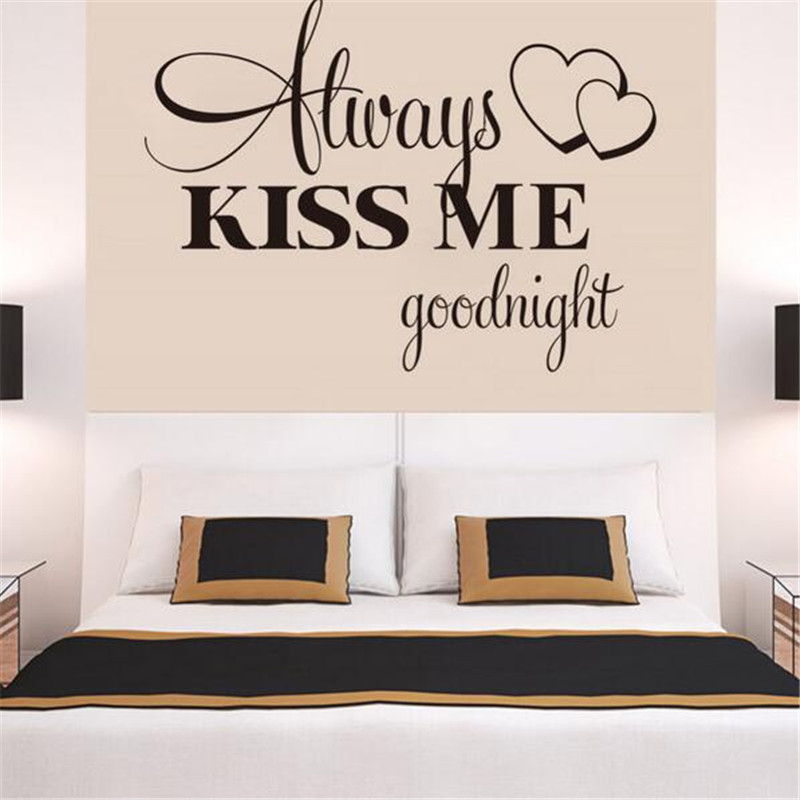 t06014 romantische muurschildering liefde vinyl muurstickers slaapkamer quotes decals kus me altijd goodnight woondecoratie muur art decor in t06014
