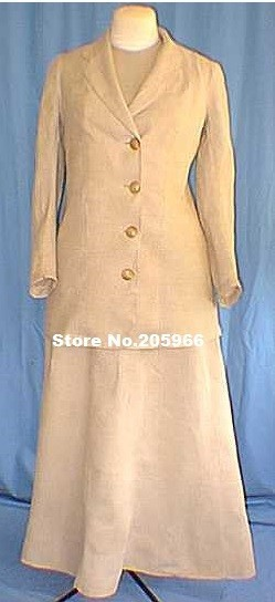 Elegant Reproduction Large size of Circa 1900'sTan Linen Walking Suit/Victorian Dresses/Stage Dresses/Vintage Costume