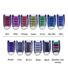 12Pc Set Elastic Silicone Shoelaces Athletic Running No Tie Shoe Lace Sneakers Fit Strap Shoeslace For