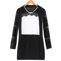 UK Ladies Women Summer Stunning Lace Long Sleeve Evening Formal Party Mini Dress Top