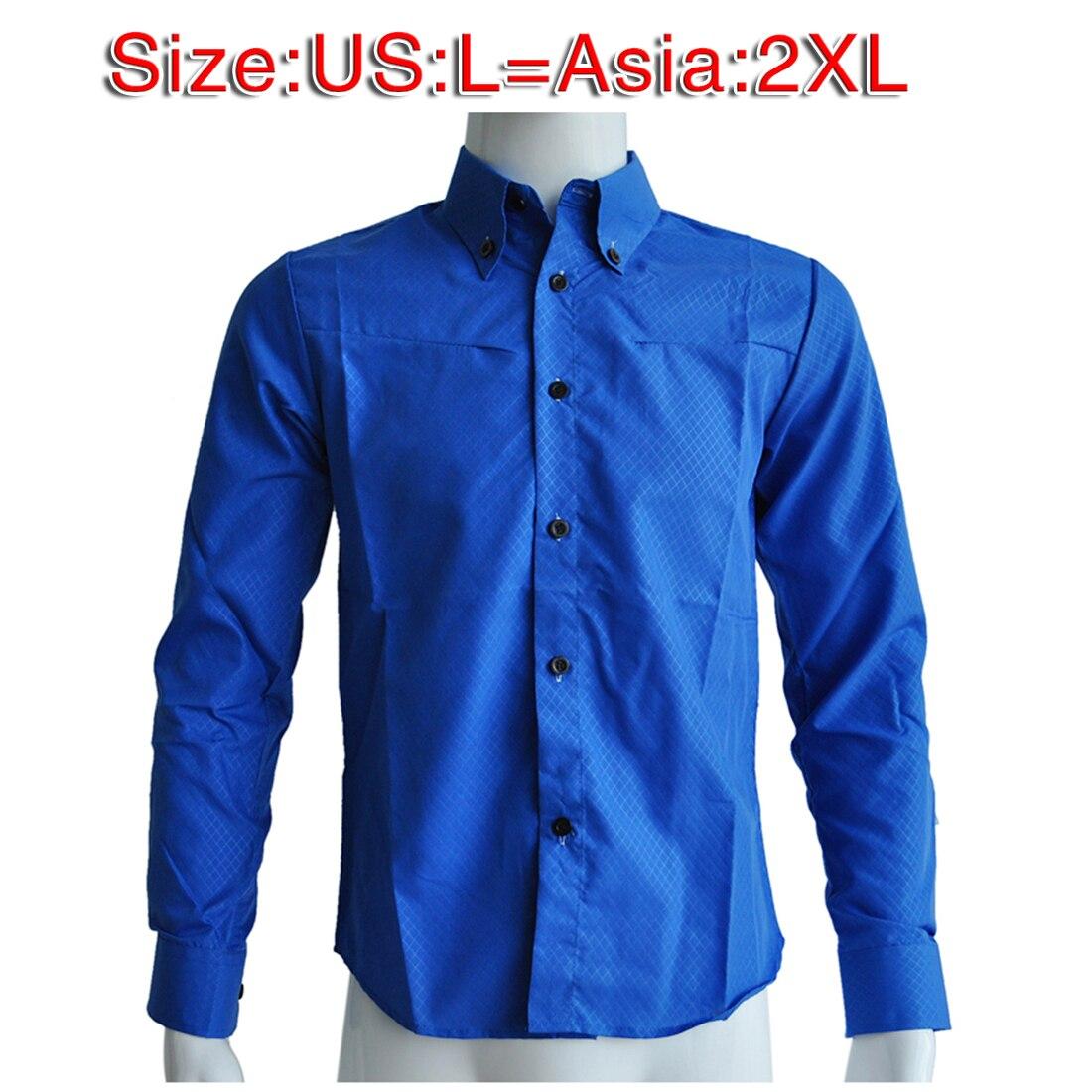 Новый мужчины рубашка повседневная slim fit мужская рубашки платья Королевский синий
