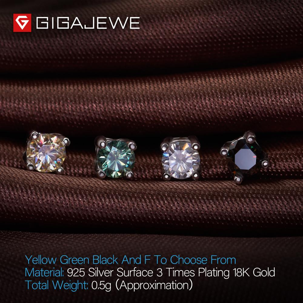 Image 4 - GIGAJEWE EF Round Cut Total 0.2ct Diamond Test Passed Moissanite 18K Gold Plated 925 Silver Earrings Jewelry Girlfriend Gift-in Earrings from Jewelry & Accessories