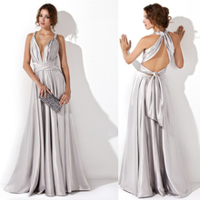 Colors And Sizes New Arrival Custom Evening dress Fashion Silver Long A-line vestido longo Elegant Convertible Dresses