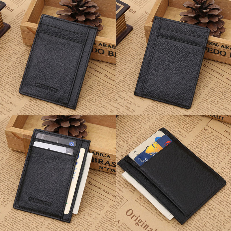 Black PU Leather Slim wallet Credit Card Case Holder-in Card & ID ...