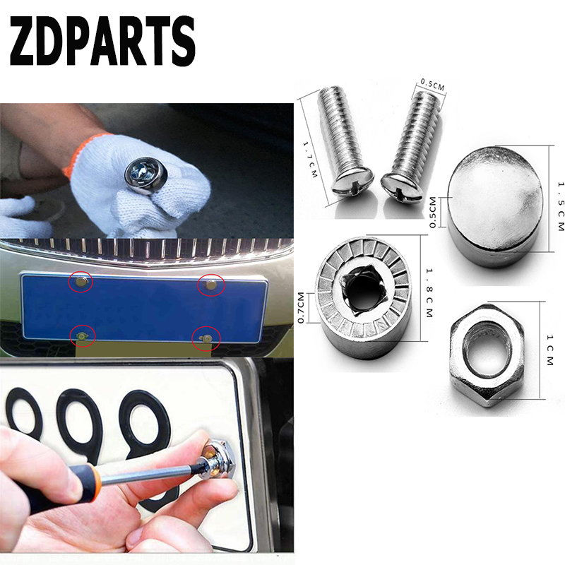 ZDPARTS 16X Car Styling License Plate Nuts Bolts Screws Cover For Skoda Octavia A5 A7 2 Rapid Fabia Yeti Superb Volvo V70 XC60 car rubber rear guard bumper protector trim cover car sticker plate for skoda rapid a5 a7 yeti superb citigo fabia