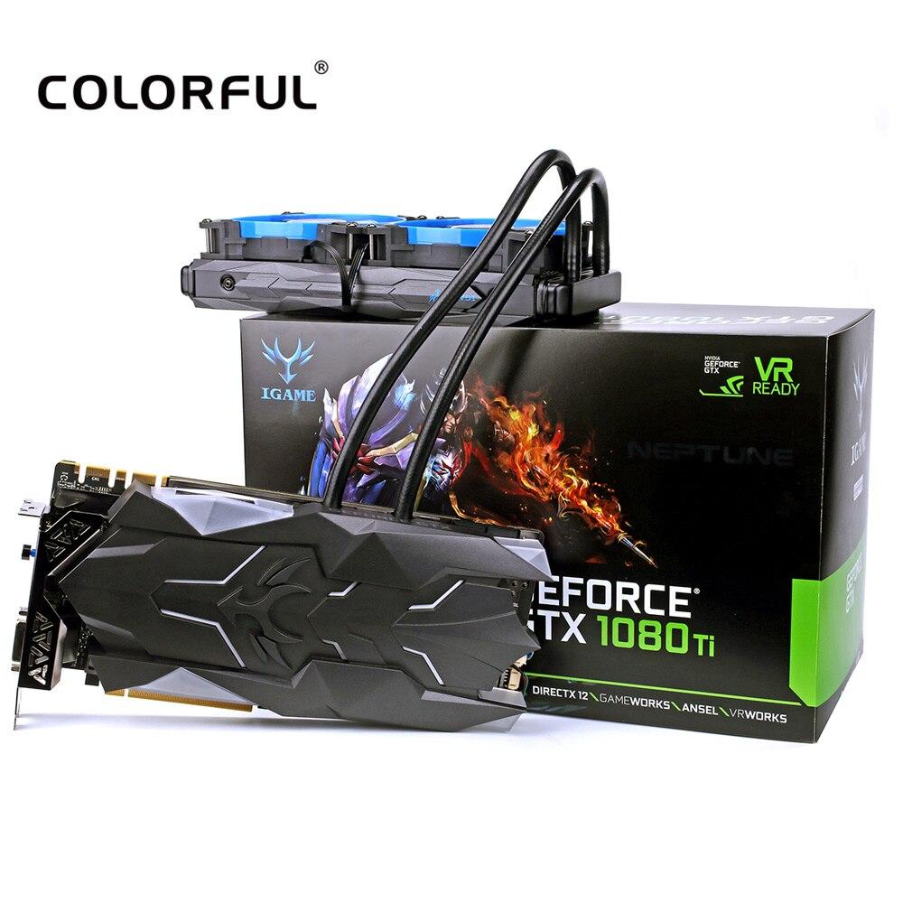 Colorful iGame GTX1080Ti Neptune W Liquid-Cooled GPU 1594-1708MHz 11GB GDDR5X 352bit Video Graphics Card цена