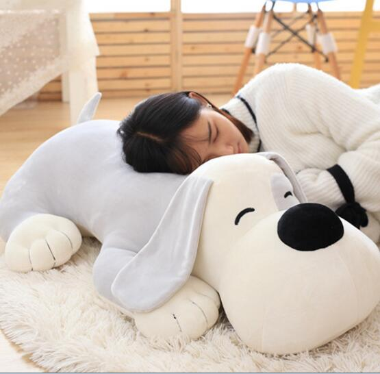 80cm High quality soft dog dolls dog plush toys Cute big dog pillow chic quality vermilion border shape dog vinyl toys