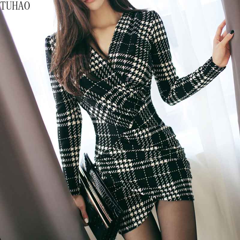 TUHAO elegante Vintage Plaid Kleider 2019 frühling Frauen Langarm Bodycon Büro dame Business Arbeit Kleid Bleistift Kleid YH129