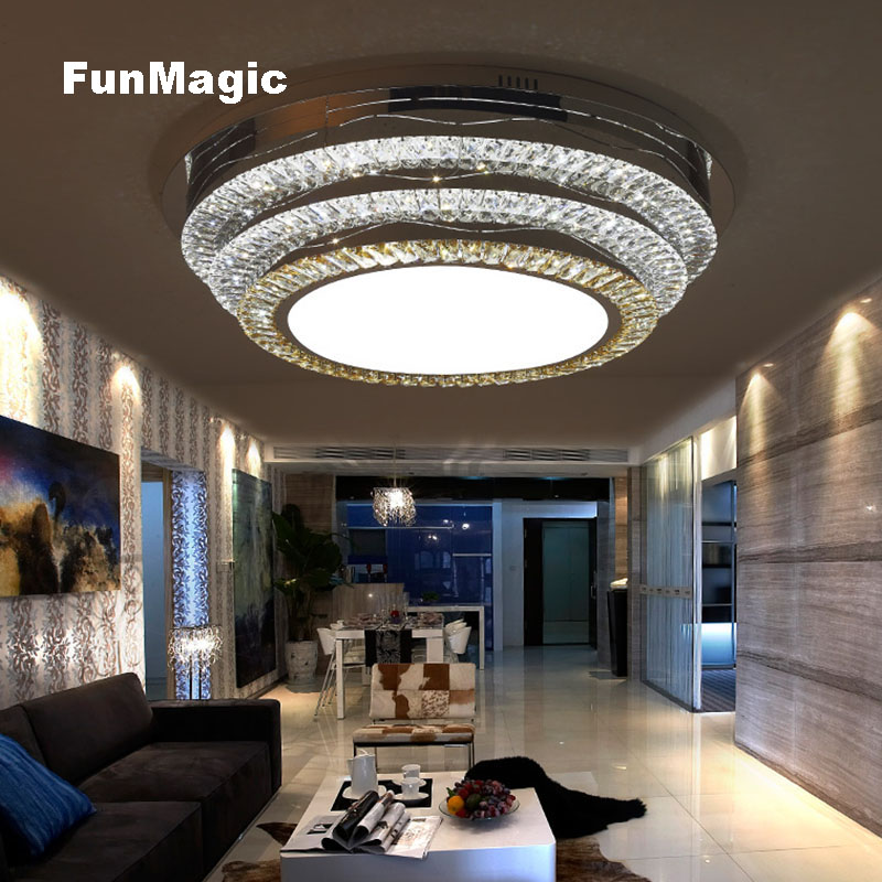 Post-modern Round Living Room LED Ceiling Light Crystal Ceiling Lighting Bedroom Surface Mounted Fixture Lamp Stepless Dimming