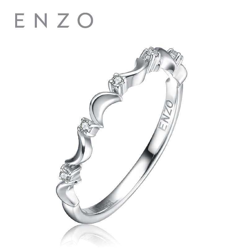 ENZO Real Diamond Ring 9K Solid White Gold Rings 0.03 Ct Engagement Jewelry For Women Simple Design Mode Chic Free Shipping chic spaghetti strap white tank top v neck button design solid color dress twinset for women
