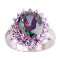 lingmei Wholesale Mystic Rainbow Topaz & White Sapphire 925 Silver Ring Size 6 7 8 9 10 Women Wedding Engagement Free Shipping
