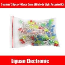 100 шт 5 мм светодиодный диодный свет Ассорти набор DIY светодиодный набор белый желтый красный зеленый синий смешанный цвет светоизлучающий пакет диодов