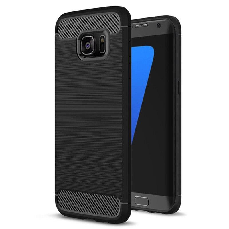 Для Galaxy <font><b>S7</b></font> (5.1 &#8221;) телефонные Чехлы В виде ракушки углеродного волокна матовый ТПУ чехол для <font><b>Samsung</b></font> Galaxy S7Edge (5.5 &#8221;) телефон сумка