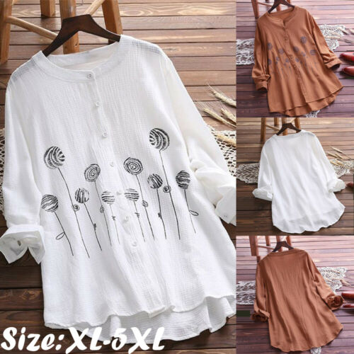 2019 Newest Fashion Hot Charming Women Cotton Tops Long Sleeve Tunic Blouse Flower Print Shirts Plus Size XL-5XL