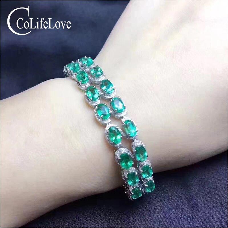 100% Natural Colômbia esmeralda pulseira 24 pcs SI grau pulseira de esmeralda para o casamento 925 jóias de prata esterlina esmeralda