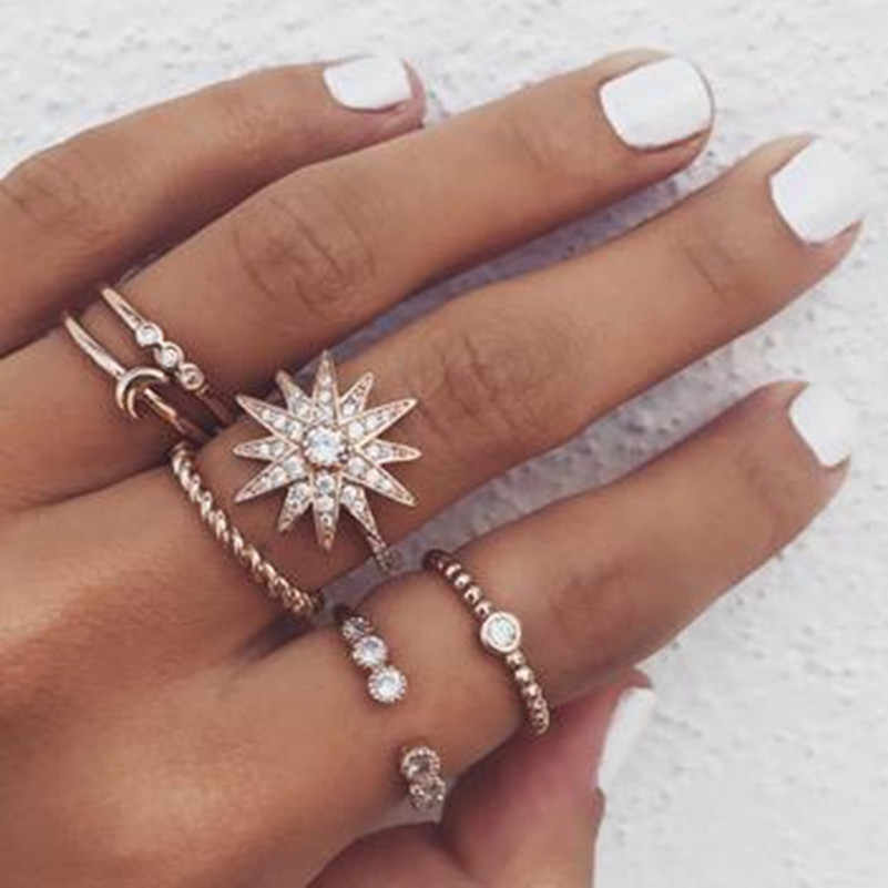 6 pieces / set of boho retro moon stars simulation crystal ring set female charm ring accessories wedding jewelry gifts