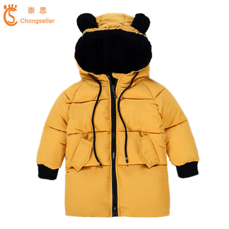 Children Long Style Outerwear Children's Padded Cotton Parkas Boy and Girls' Winter Warm Hooded Coat Baby Winter Down Clothing