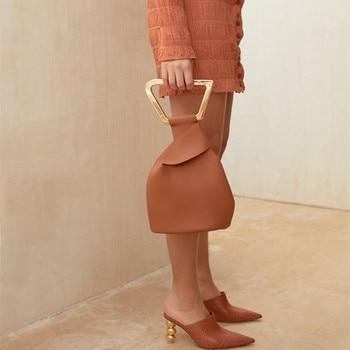 Luxury brand handbags high quality leather bags solid bucket bag fashion acrylic handle shoulder bag summer