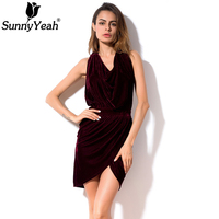 SunnyYeah Velvet Bodycon Dress Women Winter 2018 New Fashion Ladies Sleeveless Sexy Club Wear Mini Elegant