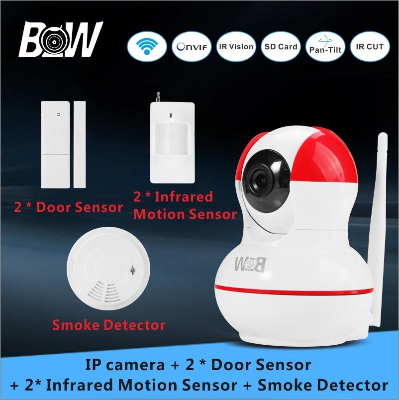 720P WiFi IP camera +2 Door Sensor +2 Infrared Motion Sensor + Smoke Detector PnP PTZ Alarm Security Surveillance Camera BW12R