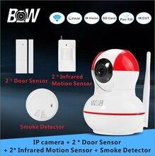 720P WiFi IP digicam +2 Door Sensor +2 Infrared Movement Sensor + Smoke Detector PnP PTZ Alarm Safety Surveillance Digital camera BW12R