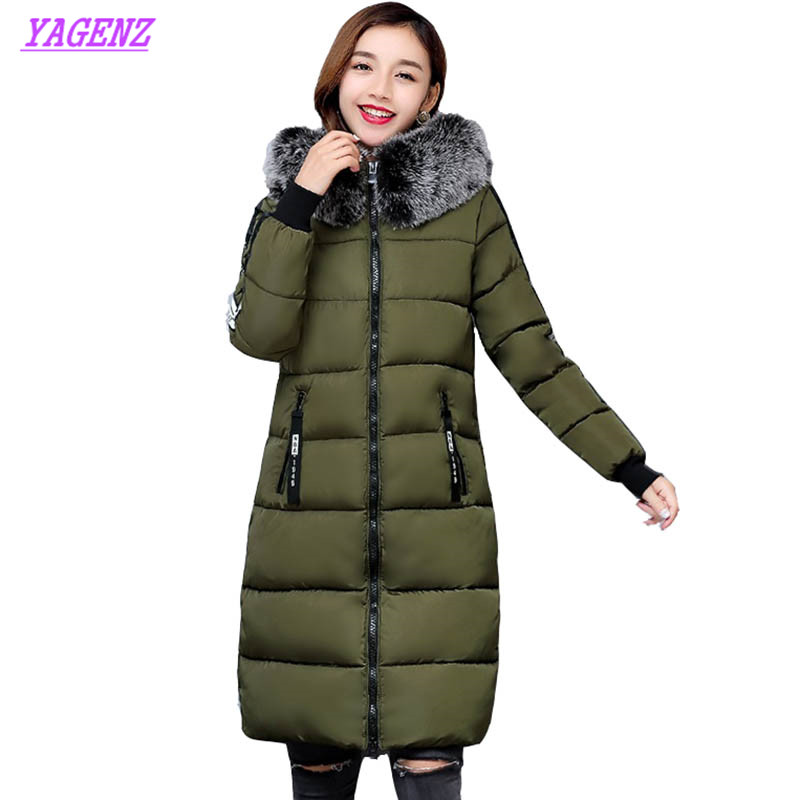 Winter New Women Upscale Long Down Cotton Jacket 2018 Fashion Warm Camouflage Cotton Outerwear Hooded Collar Need Overcoat B158 new arrival 2014 winter camouflage military long thick padded down jacket women s fashion hooded stitching cotton overcoat h2871