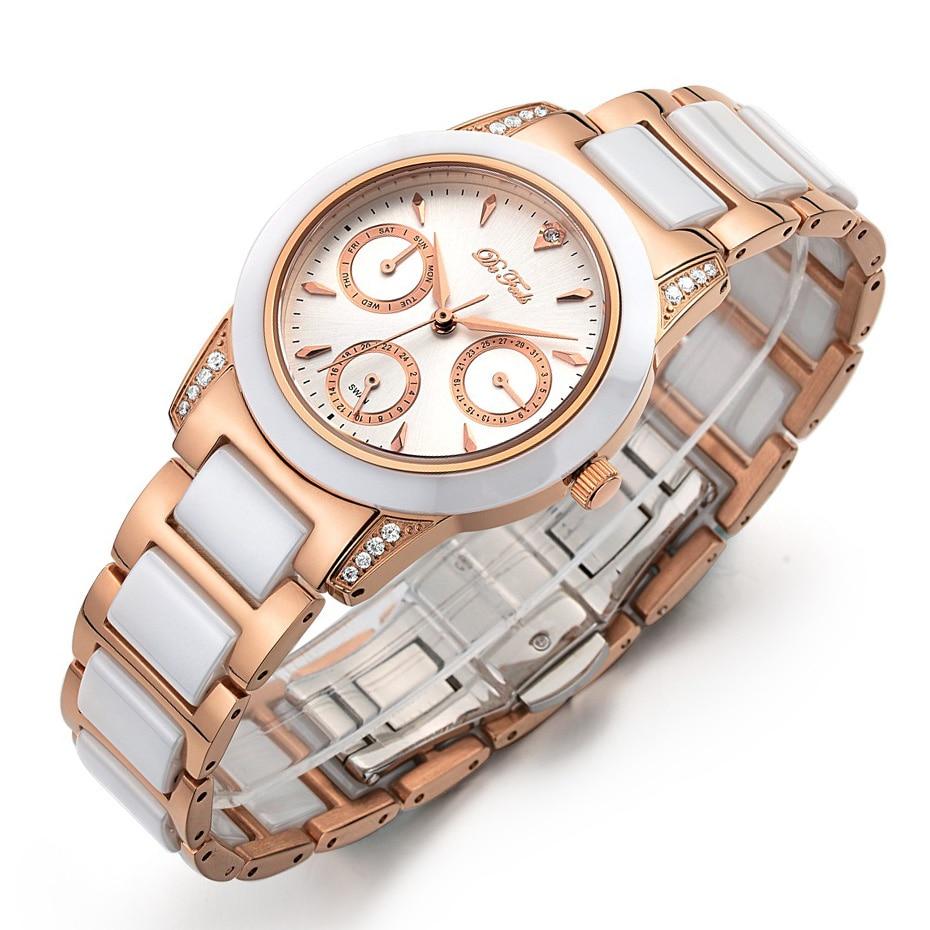 High Quality Watch Ladies Luxury Rose Gold Dress Women Fashion Diamond Ceramic Montre Femme Watches Female Wristwatches Clock