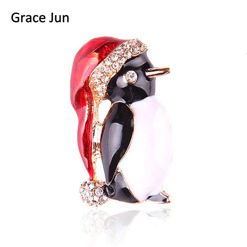 Grace Jun Korea Style Rhinestone Enmael Penguin Brooches Pins for Women Elegant Christmas Festival Suit Hijab Pin Brooches