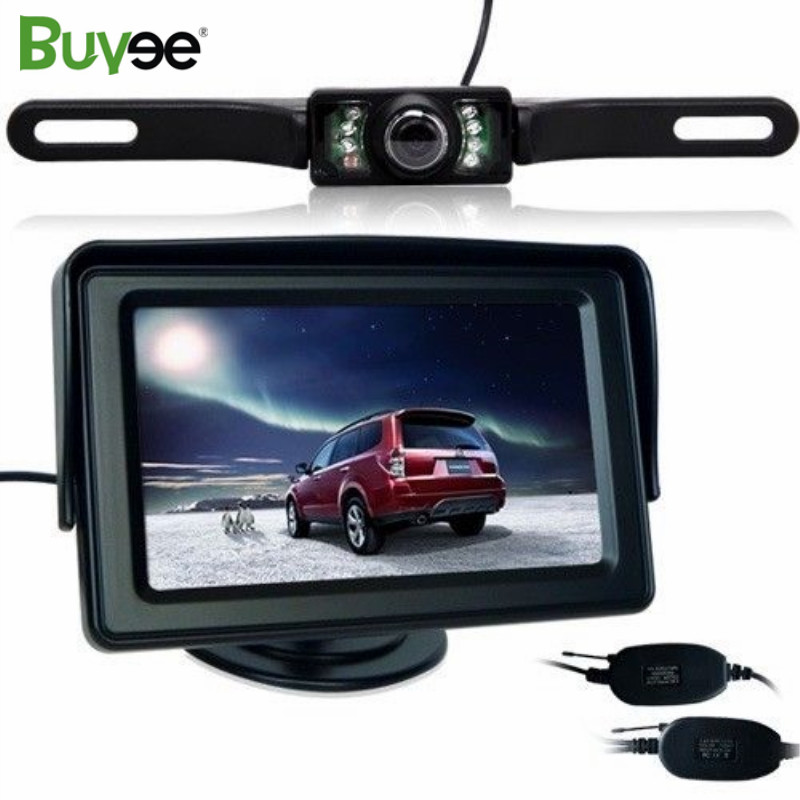 Buyee Wireless kit 4.3 Color Car Rear View Backup Parking Monitor with 7 LED IR Auto License Plate Camera Reverse Cam System